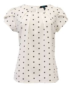 Another great find on Cream & Black Polka Dot Tulip Top by Fever London Kurta Designs, Blouse Designs, Blouse Styles, Sewing Clothes Women, Sewing Blouses, Cute Tops, Blouses For Women, Fashion Dresses, My Style