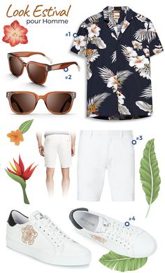 Look homme spécial été 2018 - Chemises manches courtes, bermuda blanc et  baskets mode blanches 5ce3793a3a0