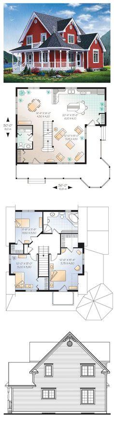 Victorian House Plan 65377 | Total Living Area: 1798 sq. ft., 3 bedrooms & 1.5 bathrooms. #houseplan #victorianstyle