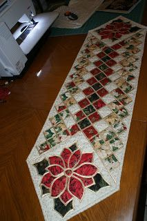 """The patterns for this Christmas Tree Skirt and Table Runner were from the book """"Christmas Traditions in Stained Glass by Brenda Henning. T..."""