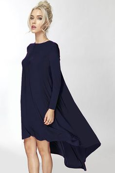 The Laguna Long Sleeve High Low Dress in Black - ShopLuckyDuck (too short in front but could add lace)