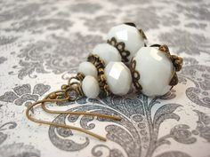 White Antique Brass Earrings Vintage Victorian by snowingstars, $16.00