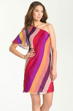 Love this vibrant one shoulder dress