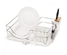 SimpleHuman wire dishrack - look for a 'flip top' one. Moveable drainage spout, extendable feet, moveable everything.