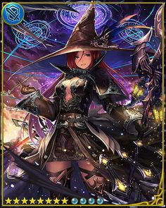 Anime picture with shingeki no bahamut tachikawa mushimaro (bimo) long hair single tall image highres looking at viewer red eyes red hair absurdres scan witch girl dress gloves weapon hat black gloves witch hat magic circle Fantasy Girl, Fantasy Anime, Fantasy Witch, Witch Art, Girls Characters, Fantasy Characters, Female Characters, Gothic Anime, Character Concept