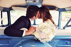 VW wedding - camper kiss