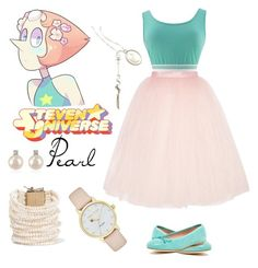 """""""Steven Universe: Pearl"""" by whatisshewearing on Polyvore featuring Patricia Green, Ballet Beautiful, Cartoon Network, Kate Spade, Rosantica, Forzieri, pearl and stevenuniverse"""