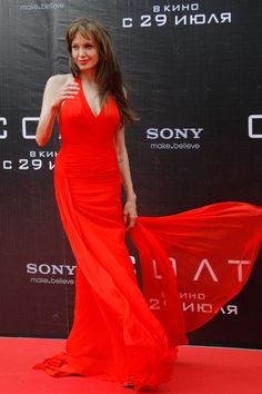 Angelina Jolie | July 2010  She chose fiery red Versace for the Moscow premiere of Salt.