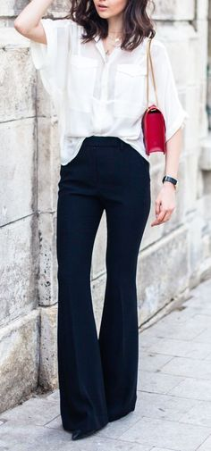 Stunning navy pants and loose white blouse