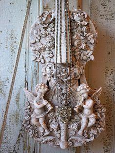 Cherub violin art piece wall hanging French by AnitaSperoDesign