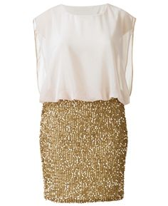 #Shop: Insane dress with blouson white top and gold-sequined skirt. Of the moment. Gotta have it.