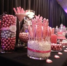 It's a girl baby shower candy station