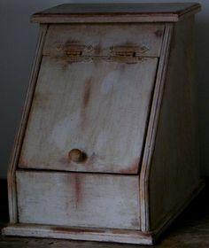 http://myworld.ebay.com/yesterdaysdays  Primitive Aged Farmhouse White Bread Box