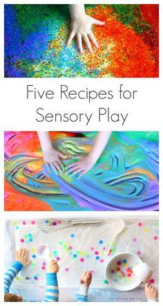 Five simple and fun creative recipes for sensory play. A perfect way to keep cool this summer! From Fun at Home with Kids for Coffee Cups and Crayons