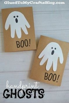 Hand-print ghost crafts for kids - perfect for Halloween!