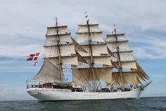 "Three-masted frigate and full-rigged ""DANMARK"" Owner: Danish Maritime Authority Shipyard: Nakskov, Denmark Year of building: 1932 Port of Registry: Copenhagen Length: 77 m Beam: 9.8 m Max. draught: 5.2 m Sails area: 1636 m2"