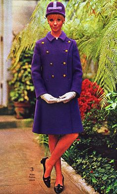 Purple vintage coat and matching cap 1966 Spiegel catalog.  Cay Sanderson.