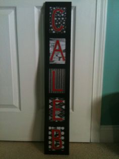 Picture frame.  Inserted scrapbook paper, and then cut out vinyl letters on the cricut.