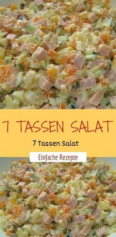 7 Tassen Salat Ingredients 1 cup of potato (s), diced, cooked 1 cup of ham, cooked, diced 1 cup of e Easy Salads, Healthy Salad Recipes, Quick Easy Meals, Easy Dinner Recipes, Charcuterie, Best Pasta Salad, Brunch, Party Finger Foods, Ground Beef Recipes