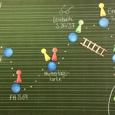 spontaner Tages plan Bisher haben wir die Spielfiguren nur für Tafelspiele genutzt, jetzt kamen sie dank der Idee von @happy.teaching für die Transparenz im Tagesplan zum Einsatz. Wahnsinn, was es einen Einfluss auf Motivation und Arbeitsschnelligkeit hat, wenn der Plan aussieht wie ein Spielfeld (Die Abkürzung über die Leiter ist für meinen Förderschüler eingebaut.) #tagesplan #tafelbild #motivation #transparenz #katehadfielddesigns #zweiteklasse #grundschulideen #elementaryschool #el...