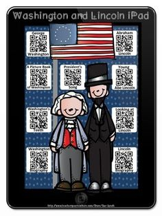 Watch & Learn George Washington and Abraham Lincoln iPad with Response Sheets~Scan a QR Code and learn about George and Abe!  Engaging and Fun! #Presidents #GeorgeWashington #AbrahamLincoln #Biographies #QRCodes #TeachersPayTeachers #TpT
