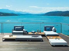 Modern outdoor furniture & patio umbrellas built to exacting standards & shipped worldwide. Call for our patio furniture catalog or visit our showroom. Modern Outdoor Furniture, Unique Furniture, Outdoor Sofa, Outdoor Spaces, Outdoor Living, Outdoor Decor, Lounge Furniture, Kitchen Furniture, Furniture Design