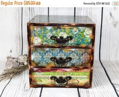 SPRING SALE Shabby Blue Gipsy Hippie Mini wooden chest drawers apothecary cabinet Boho pink Home Office Desktop Organizer Trinket Drawers Je