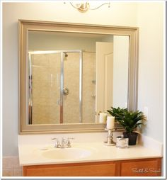 Tutorial to make a frame for a mirror that has mirror clips like our bathroom mirror. Maybe I'll spray paint it in the brushed nickel like this one! Mirror Frames, Decor, Home Diy, Home, Diy Frame, Mirror Frame Diy, Diy Dresser, Bathroom Mirror Frame, Diy Mirror