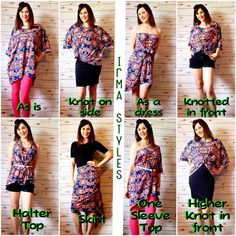 "Ways to wear your Irma! #LLRversatility For more styling tips and and to shop LuLaRoe search ""LuLaRoe with Tiffany Braunel"" on Facebook."