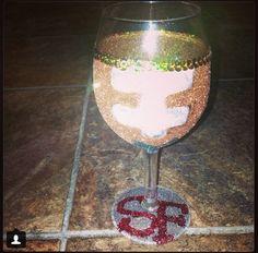 Custom nfl 49ers wine glass