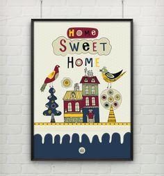 Poster Home Sweet Home Bird's - Ver na Loja -> http://amolduraria.tanlup.com/