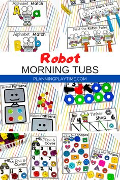 Looking for fun Morning Tubs for kids? Check out these 8 Hands-On Robot themed activities for Preschool or Kindergarten.