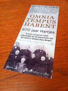 Na het boek hebben wij ook de #uitnodiging voor de boekpresentatie 'Omnia Tempus Habent - 670 jaar Hartjes' #ontworpen. Binnenkort ook de website online via www.familie-hartjes.nl #3AMI #Invitation