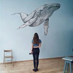 Whale Painting, Diy Wall Painting, Art Sketches, Art Drawings, Art Fil, Whale Art, Murals Street Art, Wall Drawing, Painting Inspiration