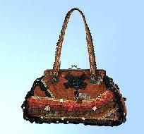 NEW Vintage Style BROWN Ribbon Bag FREE SHIPPING