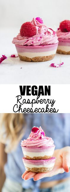 These raw vegan raspberry cheesecakes are a healthy no-bake dessert that is gluten-free, refined sugar-free and easy to make!