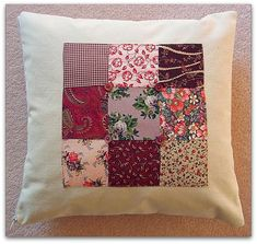 Patchwork panel cushion cover with button detail and zip fastening | wowthankyou.co.uk