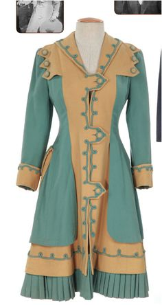 """Aqua and beige coat, worn by Barbara Whiting. Designed by Rene Hubert for """"Centennial Summer.""""  (1946) Aqua and beige wool coat with swirls and pleats.    Worn by Barbara Whiting as """"Susanna Rogers"""" in the final scene at the   train station."""