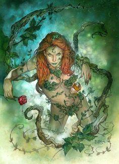 Poison Ivy by Tom Fleming Comic Art. (Batman, in case you didn't know) Poison Ivy by Tom Fleming Dc Poison Ivy, Poison Ivy Dc Comics, Harley Quinn, Joker And Harley, Gotham City, Hq Dc, Drawn Art, Gotham Girls, Comic Kunst