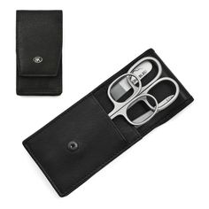 Hans Kniebes Luxury Manicure Set with crystal nail file, in Amalfi Leather Case