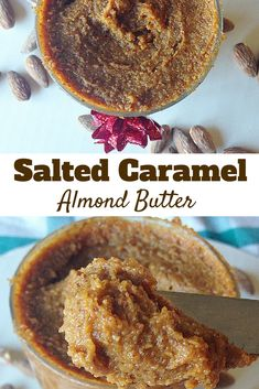 #healthy Salted Caramel Almond butter! So easy to make and super tasty! you will LOVE this! #paleo #vegan #glutenfree