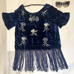 SALE  Luxe velvet fringe top! This gorgeous blue embroidered velvet top is even more gorgeous in person!  Perfect for the holiday season! No trades. Price is firm. If interested, do not purchase this listing. I will create a new one for you. Sizes available: S & M Tops