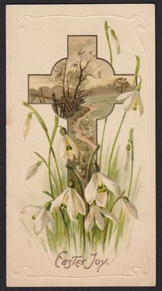 Easter Card Raphael Tuck Snowdrop Flowers Psalm Antique | eBay
