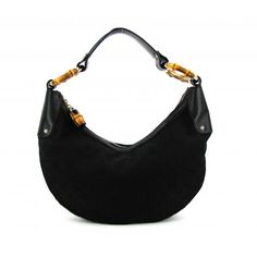 1da55dd98ce Gucci Black GG Canvas Bamboo Ring Hobo Bag. Mosh Posh Designer Consigner