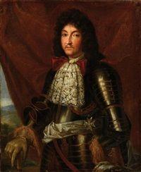 Portrait du roi Louis XIV 1638-1715 en armure à fleurs de lys, avec la plaque de lOrdre du Saint-Esprit by French School 17