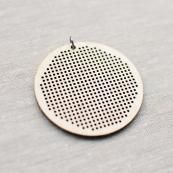 A modern way to cross stitch!  Laser cut birch plywood cross stitch pendant with jump ring. Stitch small motifs and designs into this unique accessory.   Each pendant comes with a blank chart for you to pre-draw your design onto before stitching.  2 1/8'...