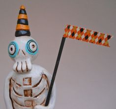 Halloween Skeleton with black and orange Banner clay by indigotwin, $35.00