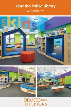 Take a virtual tour of the Kenosha Public Library where vibrant colors, soft seating and serpentine landscapes create rejuvenating environment for kids.
