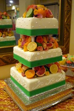 Wedding cake with fruit and flowers