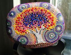 Fantasy Tree of Life Hand Painted Beach Stone by P4MirandaPitrone